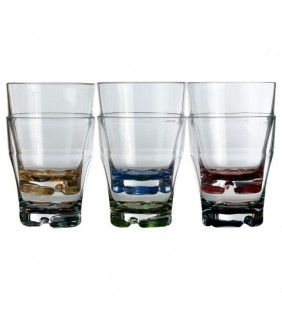 Vaso agua apilable con base colores Party 6 uds.
