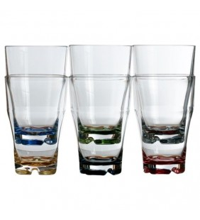 Vaso refresco apilable con base colores Party 6 uds.