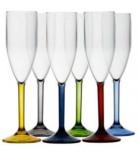 Copa champagne con base de colores Party 6 uds.